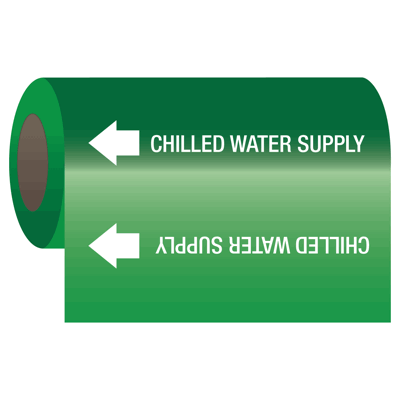 Chilled Water Supply - Self-Adhesive Pipe Markers-On-A-Roll