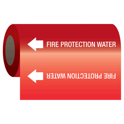 Fire Protection Water - Self-Adhesive Pipe Markers-On-A-Roll