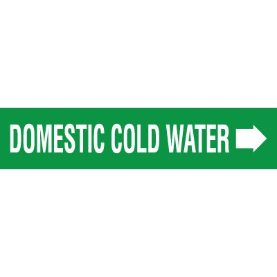 Domestic Cold Water With Arrow Pipe Markers