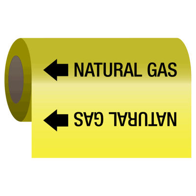Natural Gas - Self-Adhesive Pipe Markers-On-A-Roll