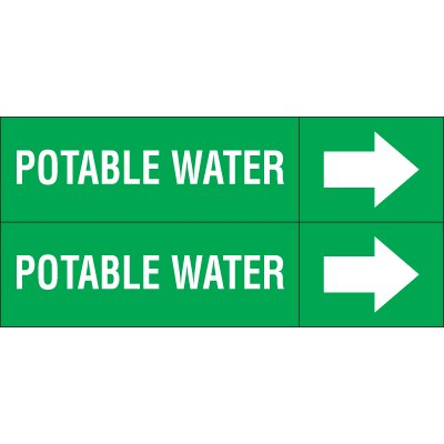 Potable Water - Weather-Code™ Self-Adhesive Outdoor Pipe Markers