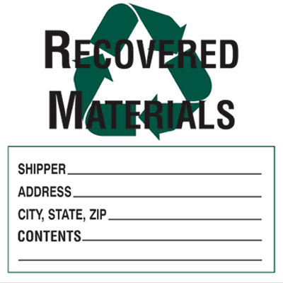 Recovered Materials - Drum Identification Labels