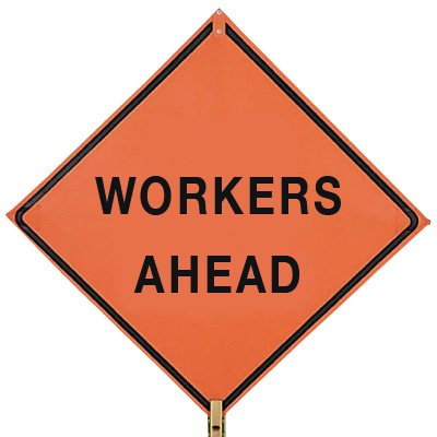 """WORKERS AHEAD - 36"""" H x 36"""" W Mesh Non-Reflective Warning Construction Sign"""