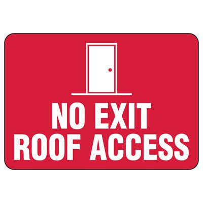 Roof Access Signs - No Exit Roof Access