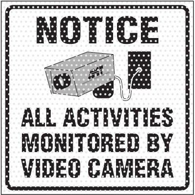 See-Thru Monitored By Cameras Label