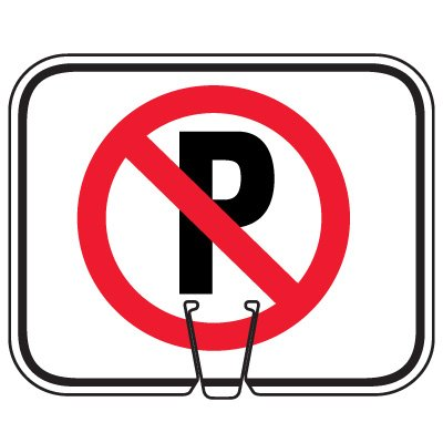 Plastic Traffic Cone Signs- No Parking Symbol