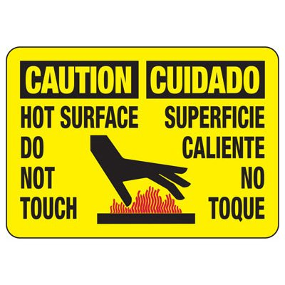 Temperature Warning Signs - Caution Hot Surface Do Not Touch Cuidado Superficie Caliente