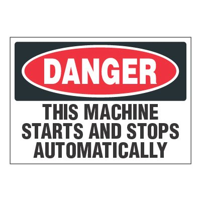 ToughWash® Adhesive Signs - Danger Machine Starts And Stops