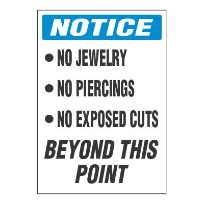 ToughWash® Adhesive Signs - Notice No Jewelry No Piercings