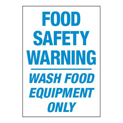 ToughWash® Adhesive Signs - Food Safety Warning Wash Food