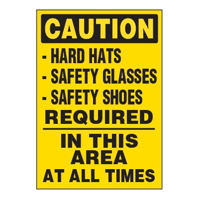 ToughWash® Adhesive Signs - Caution Hard Hats Required