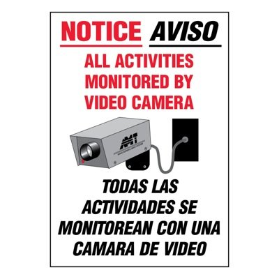 Bilingual Super-Stik Signs - Notice All Activities Monitored
