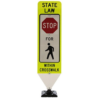 Spring-Back Pedestrian Crossing Signs With Base- State Law Stop For Pedestrian