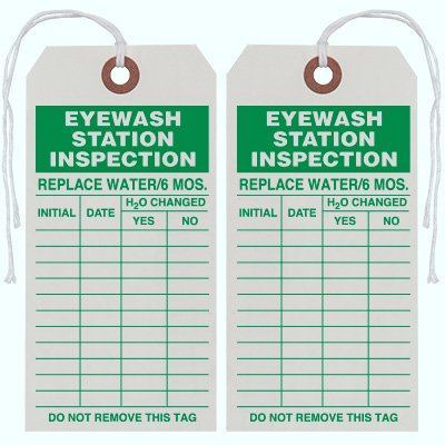 Eye Wash Station Inspection Tag