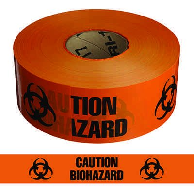 """Biohazard"" Barricade Tape with Symbol - Standard, Black & Orange"
