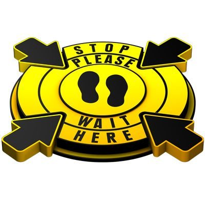 3D Floor Marker - Stop Please Wait Here - Yellow