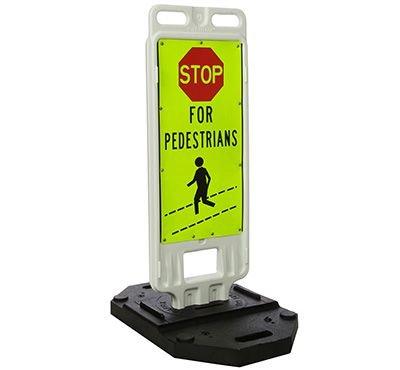 "STOP For Pedestrians - 40"" H x 14"" W Plastic Diamond-Grade Traffic Control Crosswalk Sign"
