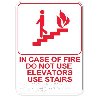 Fire Emergency Do Not Use Elevator ADA Sign