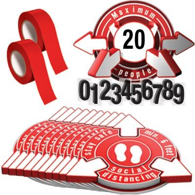 3D Social Distancing Label Kit for Auditoriums - Red