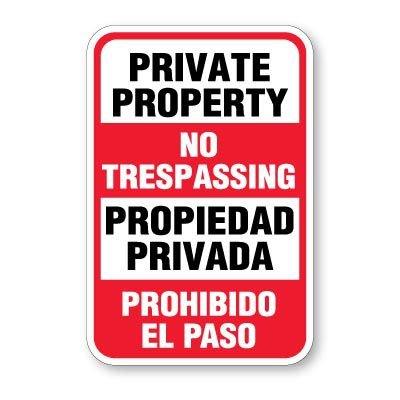Bilingual Private Property No Trespassing Signs
