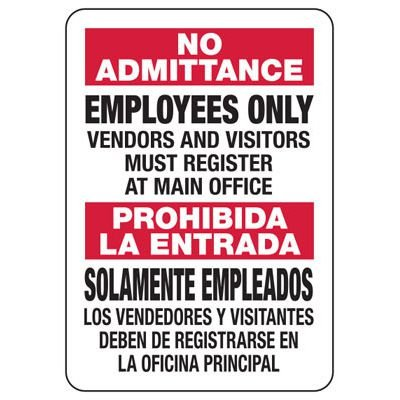 Bilingual No Admittance Employees Only Sign
