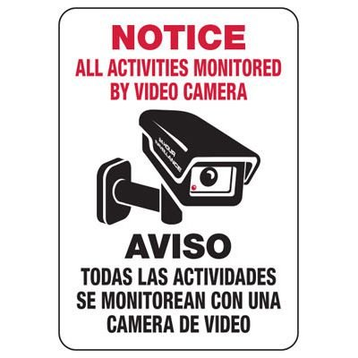 All Activities Monitored By Camera Sign