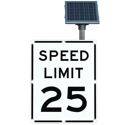 BlinkerSign® Solar Powered Flashing LED Signs - SPEED LIMIT 25