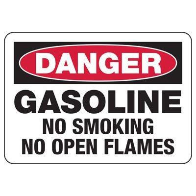 Gasoline No Smoking No Flames Sign