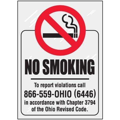 Ohio No Smoking Window Decal