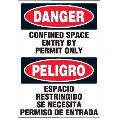 Bilingual Danger Confined Space Labels