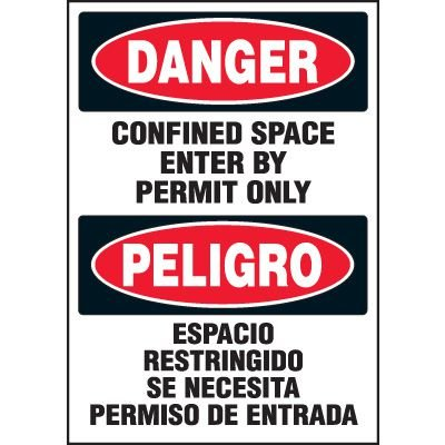 Bilingual Danger Confined Space Labels