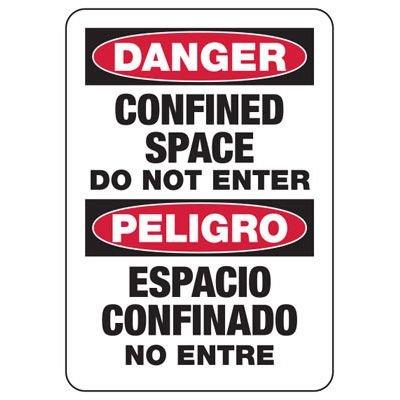Bilingual Danger Do Not Enter Sign