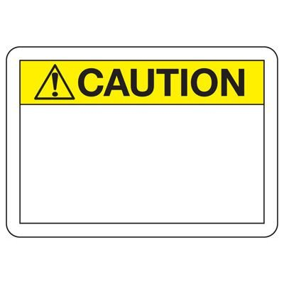 Write-On Blank Caution Sign