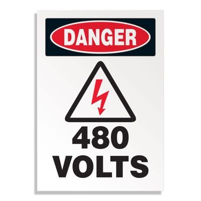 Voltage Warning Labels - Danger 480 Volts