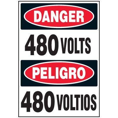 Voltage Warning Labels - Danger/Peligro 480 Volts/Voltios