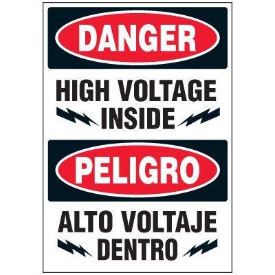 Voltage Warning Labels - Bilingual Danger High Voltage Inside