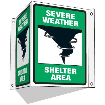 3-Way Severe Weather Shelter Area Sign