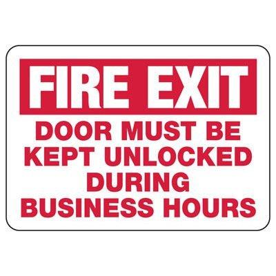 Fire Exit Door Must Be Kept Unlocked Sign