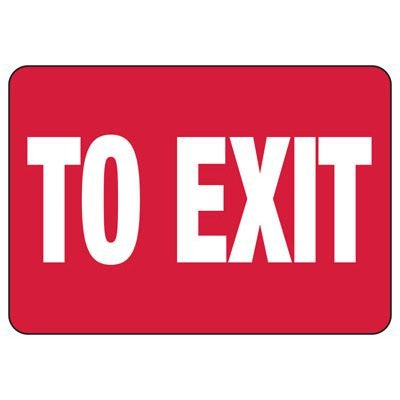 To Exit Safety Sign (Red)