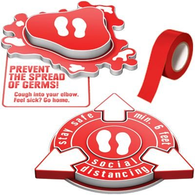 3D Social Distancing Label Kit for Foyers - Red