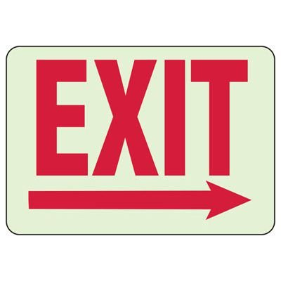 Glow In The Dark Exit (Right Arrow) Sign