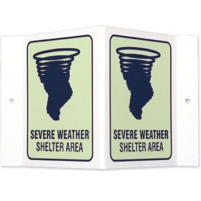 Glow-In-The-Dark Projecting Wall Signs - Severe Weather Shelter Area