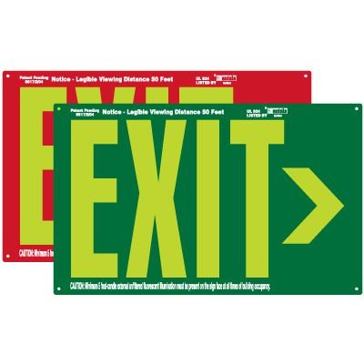 Photoluminescent Exit Sign With Arrow
