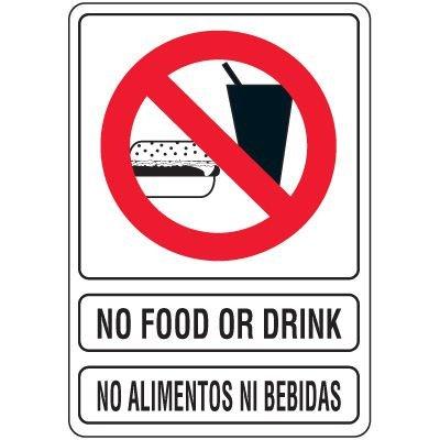 Bilingual No Food Or Drink Signs