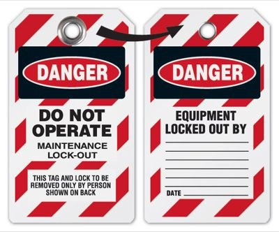 Danger Do Not Operate Maintenance Lockout Tag