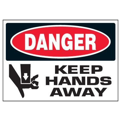 Danger Keep Hands Away Warning Markers