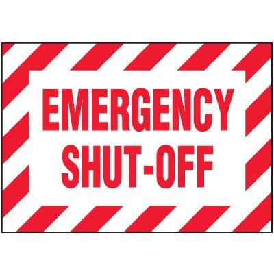 Emergency Shut Off Warning Markers