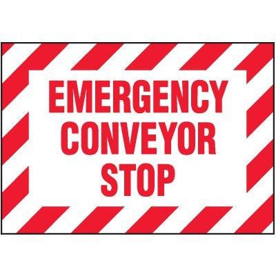 Emergency Conveyor Stop Warning Markers