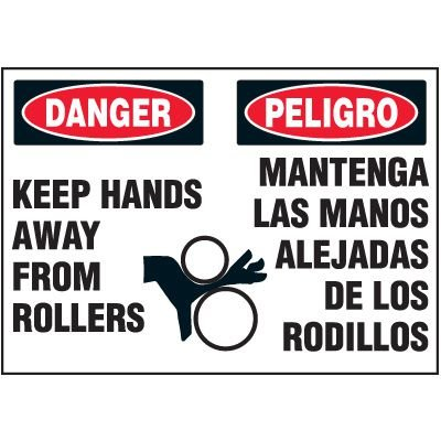 Bilingual Keep Hands From Rollers Warning Markers
