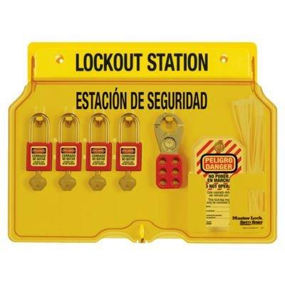 Master Lock® Bilingual 4-Lock Padlock Station, Filled